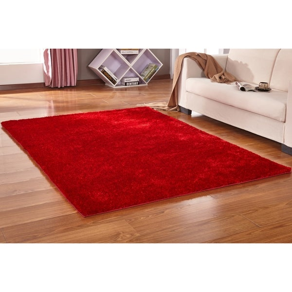 Solid Red Shag Rug Hand Tufted Weaving, 1-inch Thickness Red rugs for sale - Big/5' x 7'