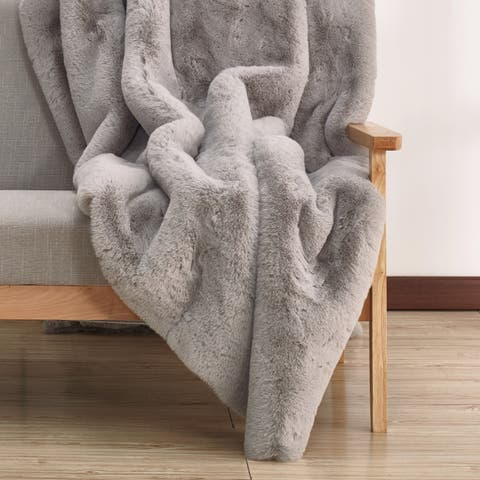 Solid Silver Faux Fur Area Rugwith Suede Backing (5' x 7') Grey rugs for sale - 5' x 7'/Big