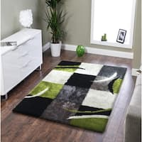 Rug Addiction Hand-tufted Polyester Black, Gree, Grey Area Rug (5'x7') Black   rugs for sale - Big/5' x 7'