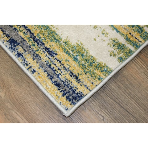 Yellow and Blue Abstract Area Rug (5'3 x 7'5) White Blue Grey rugs for sale - 5' x 8'/Big