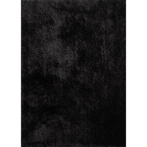 Plush Shaggy Area Rug Featuring Elegant Color Way of Black (8'x10') Black rugs for sale - 8' x 10'/Big