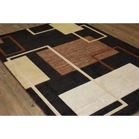 "Multicolor Black, Brown, and Beige Runner Rug (5' x 7') Brown Black rugs for sale - Big/5'3"" x 7'6"""