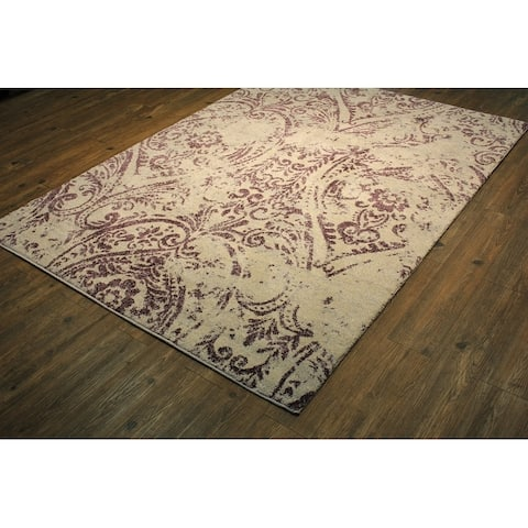 "Lavender/Ivory Persian Trellis 64 by 89 Inch Area Rug Purple rugs for sale - 5'3"" x 7'5""/Big"