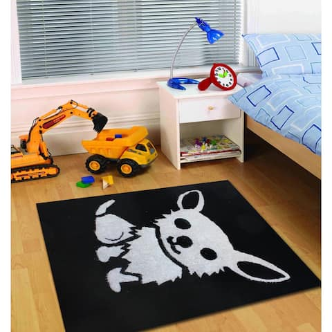 ABC Multicolor Hand-tufted Polyester Kids' Rug (4' x 6') White Black rugs for sale - 4' x 6'/Big
