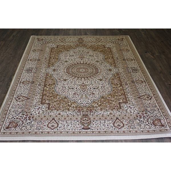 Beige Isfahan Persian Area Rug (5'3 x 7'5) Orange Brown rugs for sale - 5'3 x 7'5/Big