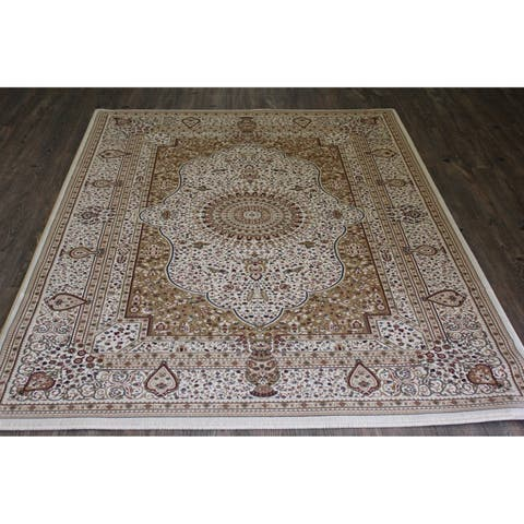 Beige Isfahan Persian Area Rug (5'3 x 7'5) Orange Brown rugs for sale - 5'3 x 7'5/Big
