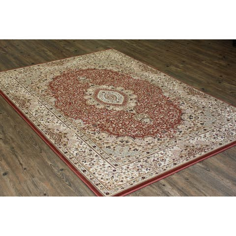 Rust Isfahan Persian Area Rug (5'3 x 7'5) Orange Brown Blue rugs for sale - 5'3 x 7'5/Big