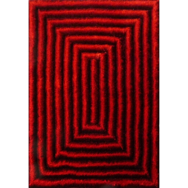 Shaggy Crimson Red Polyester 3-dimensional Gradient Waves Area Rug (8'x10') Red Black rugs for sale - 8' x 10'/Big