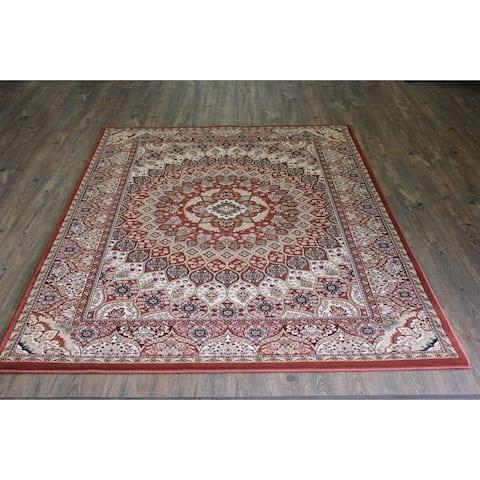 Rust Kerman Persian Area Rug (7'11 x 10'6) Orange Brown Blue rugs for sale - Big/8' x 11'
