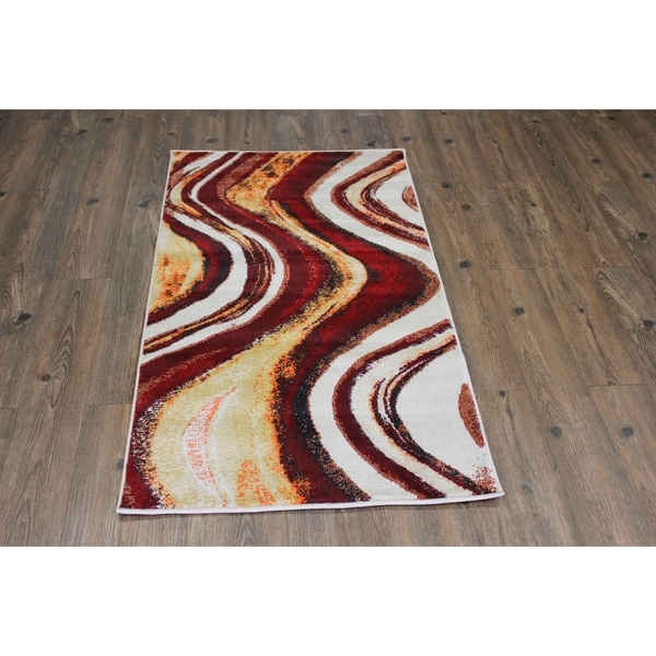 Red Wave Abstract Area Rug (5'3 x 7'5) Orange Yellow Red rugs for sale - 5'3 x 7'5/Big