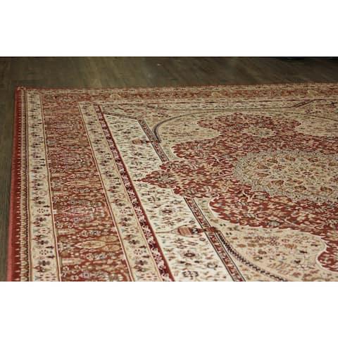 Rust Shiraz Persian Area Rug (7'11 x 10'6) Orange Brown Blue rugs for sale - Big/8' x 11'