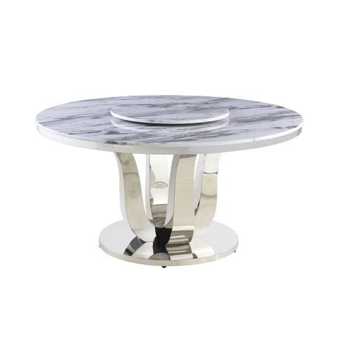 Best Quality Furniture Dining Table w/ Lazy Susan