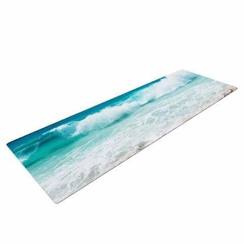 "Susan Sanders ""Tropical Ocean Beach Waves"" Yoga Mat - Blue"