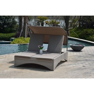 Columbia Outdoor Patio Taupe Double Chaise Lounge Daybed with Shade by Direct Wicker
