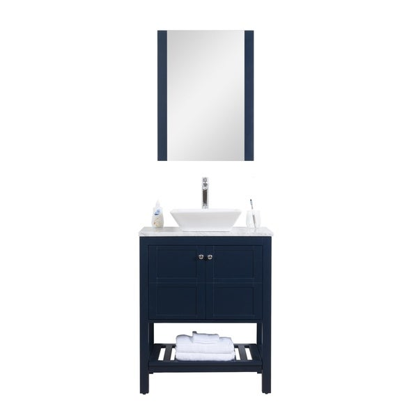 """Manhattan 30"""" Freestanding Vanity with White Marble Top in Navy"""