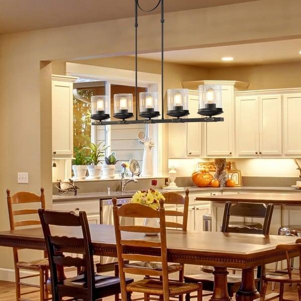 shop linear kitchen island lighting 5-light farmhouse