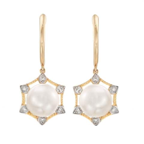 Gold Over Sterling Silver with 8mm Cultured Pearl and Natural White Topaz Hexagon Shape Dangle Earring