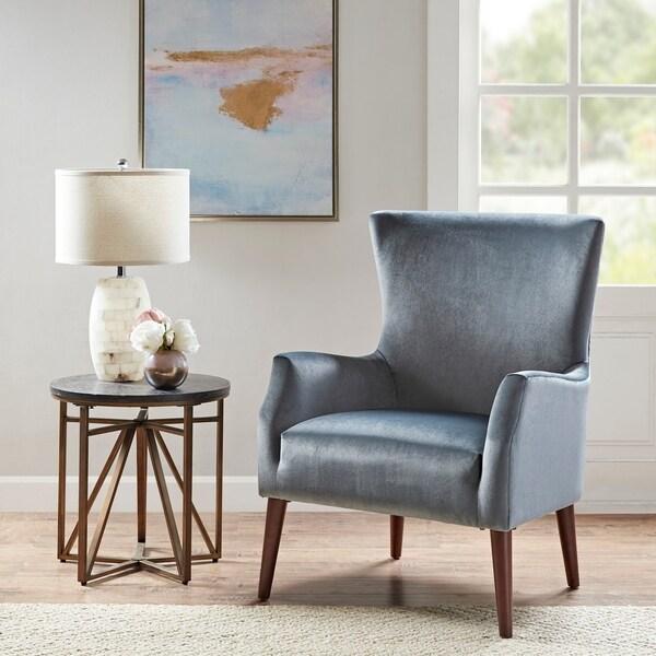 """Madison Park Norman Blue Accent Chair - 29.5"""" W x 31.75""""D x 39""""H"""