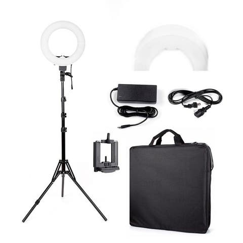 "Kshioe 12"" LED Ring Lights 14"" outer/12 on Center with Light Stand, Soft Tube, Filter"