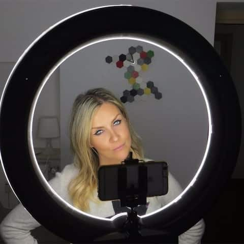 "Kshioe 12"" LED Ring Lights 14"" outer for Makeup, YouTube, Camera/Phone Video Shooting"