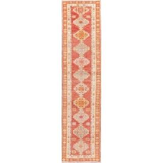 "Vegetable Dye Oushak Tribal Diamond Oriental Handmade Wool Turkish Rug - 11'11"" x 2'10"" Runner"