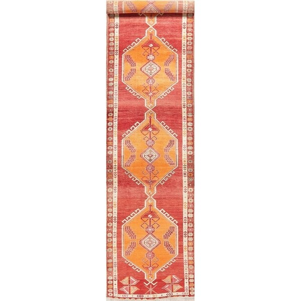 "Vegetable Dye Oushak Oriental Hand Knotted Wool Turkish Rug - 13'2"" x 3'1"" Runner"