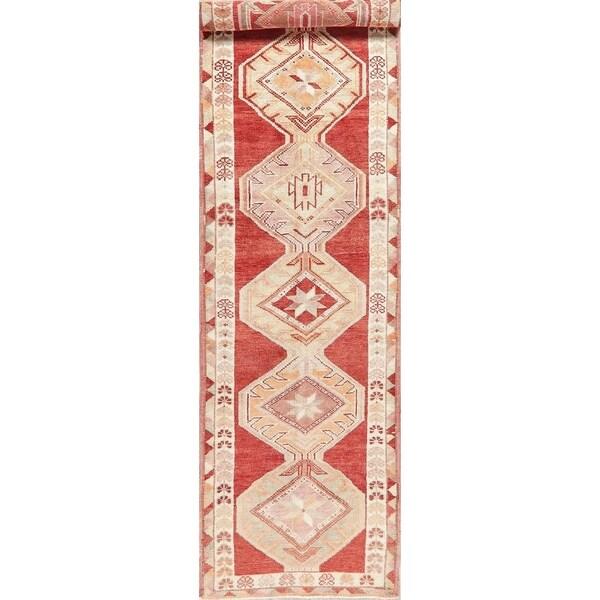 "Oushak Oriental Hand Knotted Wool Turkish Rug - 12'9"" x 3'1"" Runner"