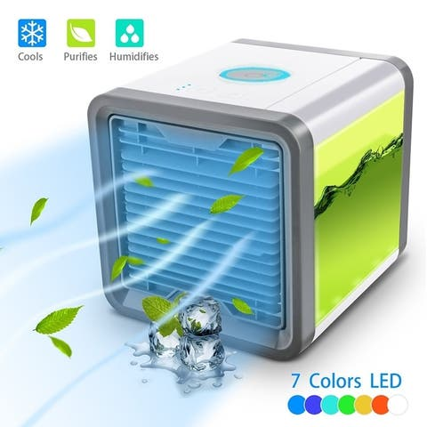 Portable Air Conditioner Fan 3 in 1 Personal Space Air Cooler Humidifier Purifier Desktop Cooling Fan 3 Speeds 7 Colors LED