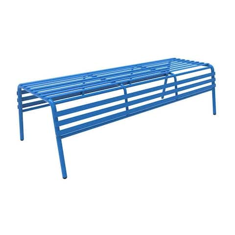 Safco Cogo Indoor Outdoor Powder Coated Steel Backless Bench - Blue - N/A