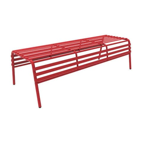 Safco Cogo Indoor Outdoor Powder Coated Steel Backless Bench - Red - N/A