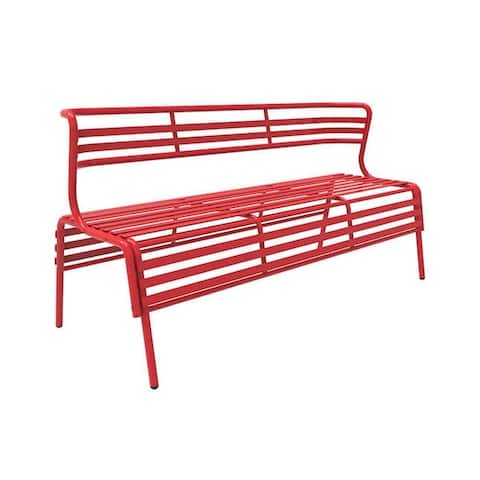 Safco Cogo Indoor Outdoor Powder Coated Steel Bench with Back - Red - N/A