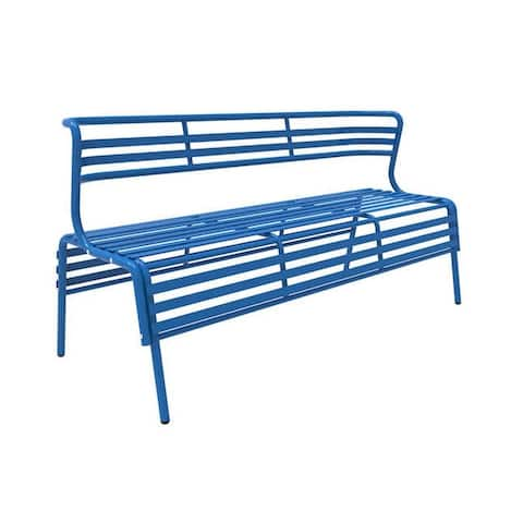 Safco Cogo Indoor Outdoor Powder Coated Steel Bench with Back - Blue - N/A