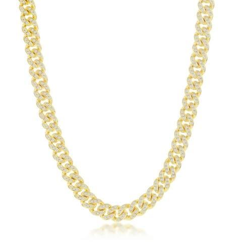 La Preciosa 925 Sterling Silver/Gold Plated Cubic Zirconia 6.5mm Miami Cuban 8.5'', 20'', 22, 24 Chain Necklace