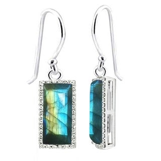 Sterling Silver with Natural Blue Labradorite and White Topaz Drop Earring