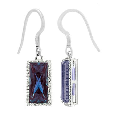 Sterling Silver with Choice of Gemstone and Natural White Topaz Drop Earring