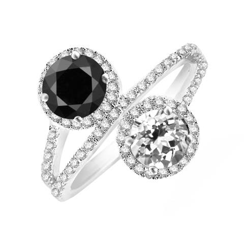 Sterling Silver with Natural Black Spinel and White Topaz Bypass Halo Ring