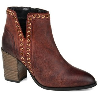Journee Signature Women's Genuine Leather Jorri Bootie