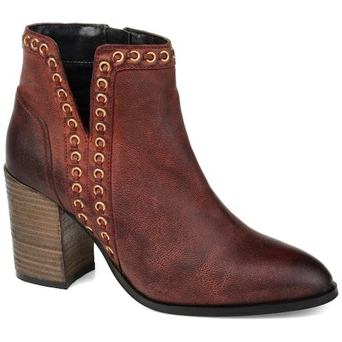 Journee Signature Womens Genuine Leather Jorri Bootie