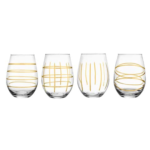 Style Setter Weston Gold Etched Stemless Goblets Set of 4