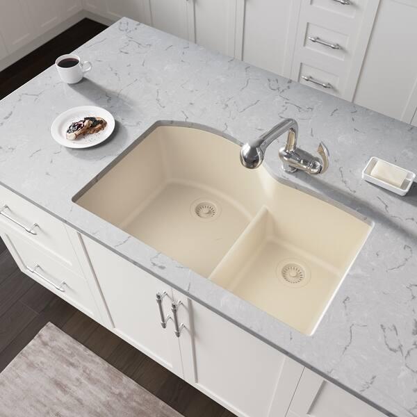 Shop 811 Low-Divide Double Bowl Quartz Kitchen Sink, Beige ...