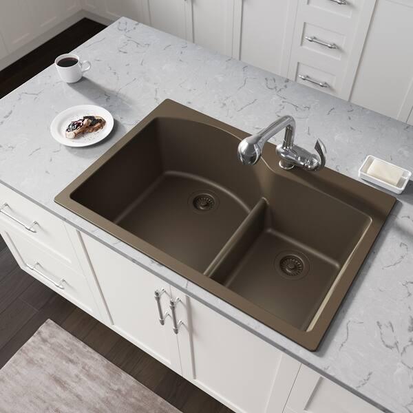 Shop T811 Low-Divide Double Bowl Quartz Kitchen Sink, Mocha ...