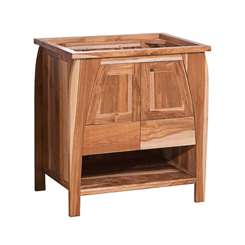 "30"" EcoDecors Tranquility Solid Teak Bathroom Vanity in EarthyTeak Finish"