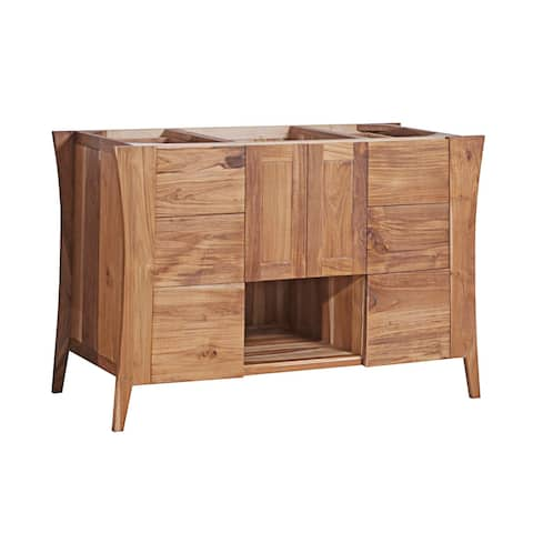 "48"" EcoDecors Curvature Solid Teak Bathroom Vanity in EarthyTeak Finish"