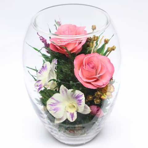 Natural Long Lasting Roses & Orchids in a Vacuum Sealed Glass Vase