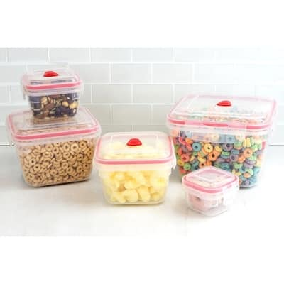 10 Piece Locking Square Plastic Food Storage Containers with Ventilated Snap-On Lids, Red