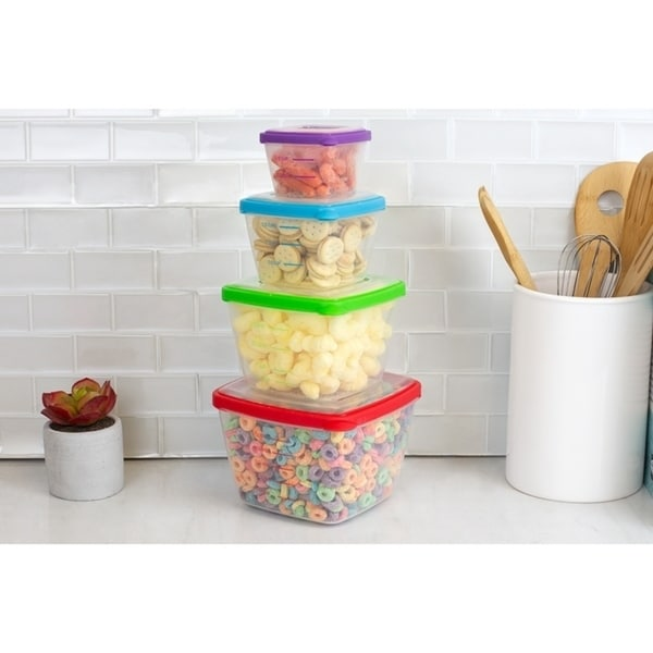 8 Piece Nesting Plastic Food Storage Container Set with Multi-Color Snap-On Lids