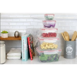 10 Piece Locking  Storage Rectangle Plastic Food Storage Containers with Ventilated Snap-On Lids, Red