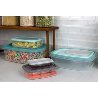 14 Piece Plastic Food Storage Container Set with Secure Fit Plastic Lids, Multi-Color