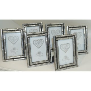 Sophia Rae Silver Decorative Bamboo Picture Frame Set of Four Frames
