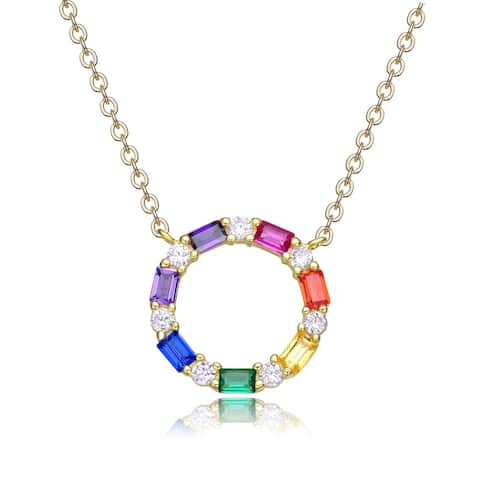 Collette Z Sterling Silver Rainnbow Cubic Zirconia Circle Pendant Necklace
